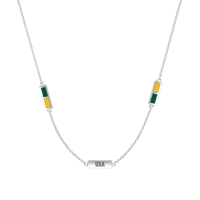 UAA Engraved Triple Station Necklace in Green and Yellow Size 16