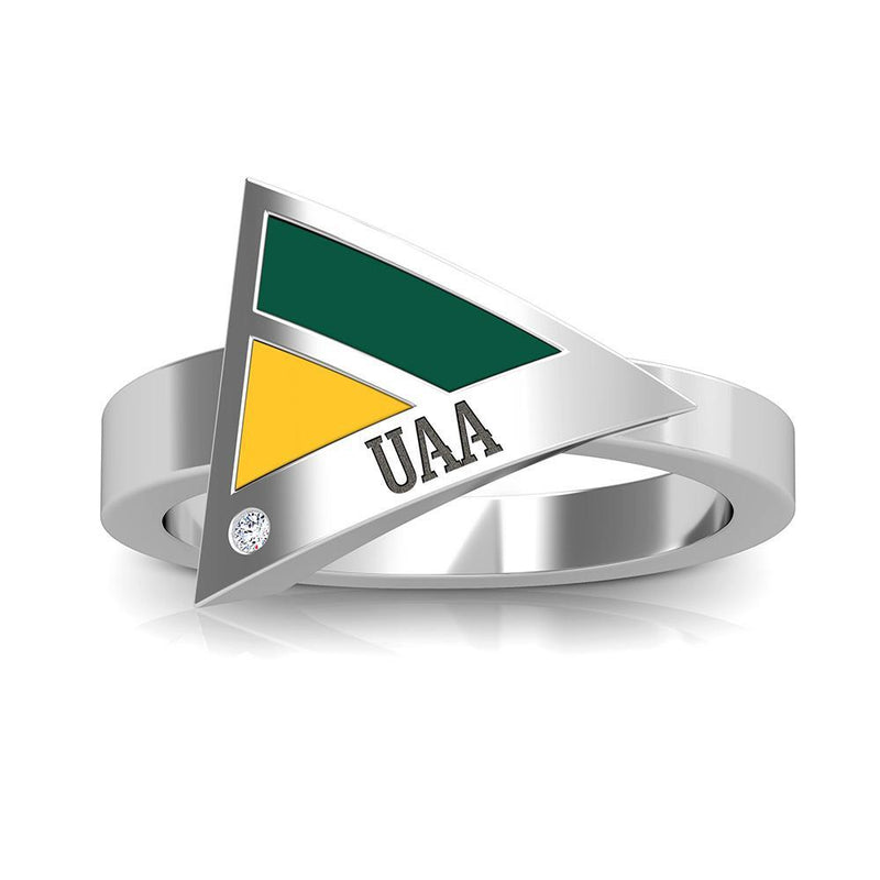 UAA Engraved Diamond Geometric Ring in Green and Yellow Size 7
