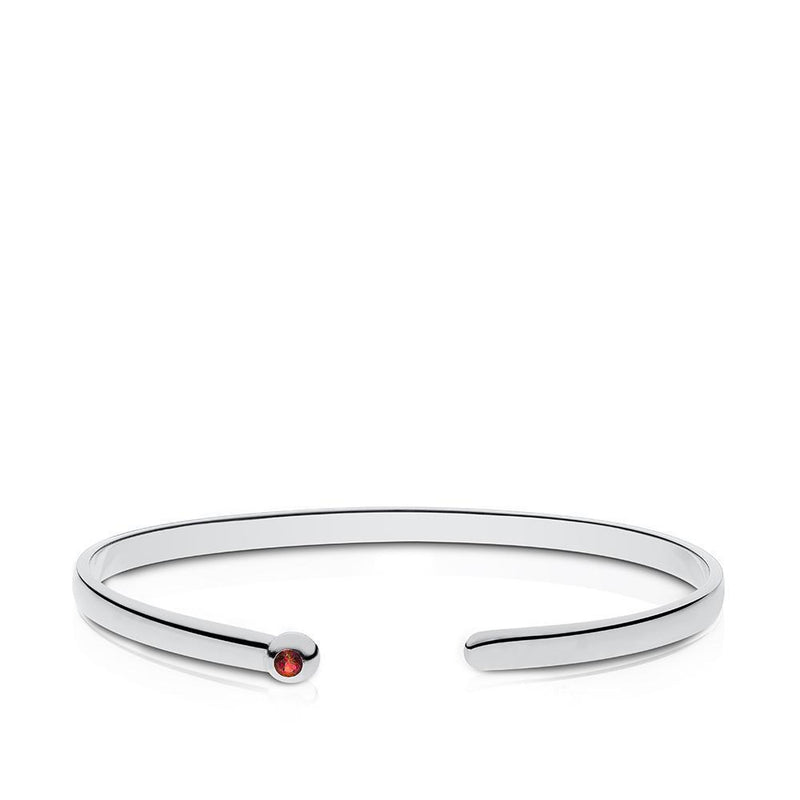 Ruby Bezel Cuff Bracelet in Sterling Silver