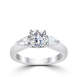 Ritani 1ct Round CZ Center Pear Diamond Side Stone Semi-Mount Engagement Ring
