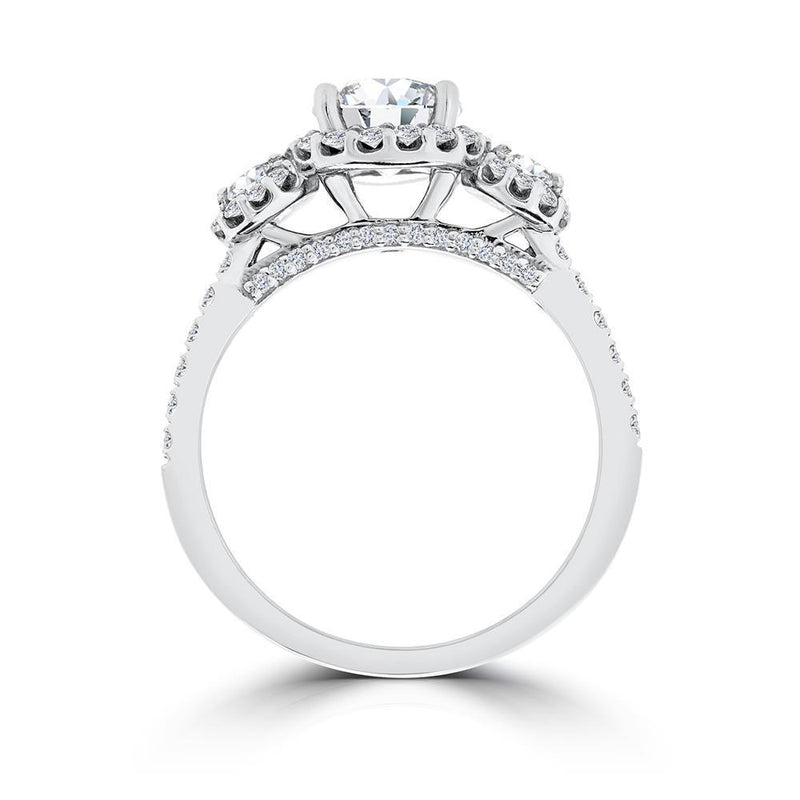 Ritani Triple Halo Round CZ Semi-Mount Engagement Ring
