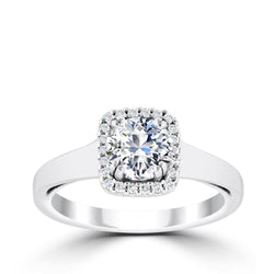 Ritani 1ct Round CZ Center Cushion Diamond Halo Semi-Mount Engagement Ring
