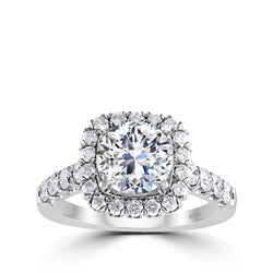 Ritani Halo Round CZ Semi-Mount Engagement Ring
