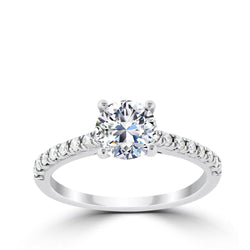 Ritani 1ct Round CZ Center Stone Diamond Shank Semi-Mount Engagement Ring