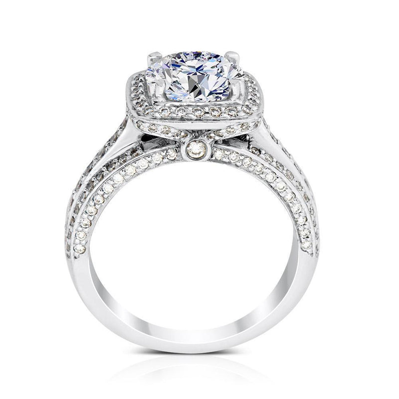Ritani Halo Round CZ Triple Row Band Semi-Mount Engagement Ring