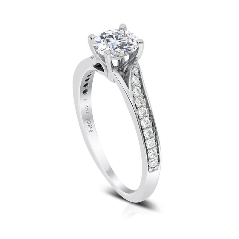 Ritani .75ct Round CZ Center Stone Diamond Bypass Shank Semi-Mount Engagement Ring