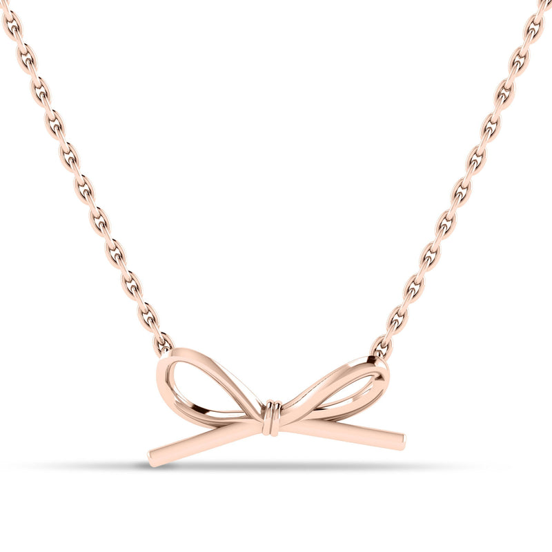 Butterfly Bow Pendant in 14K Rose Gold