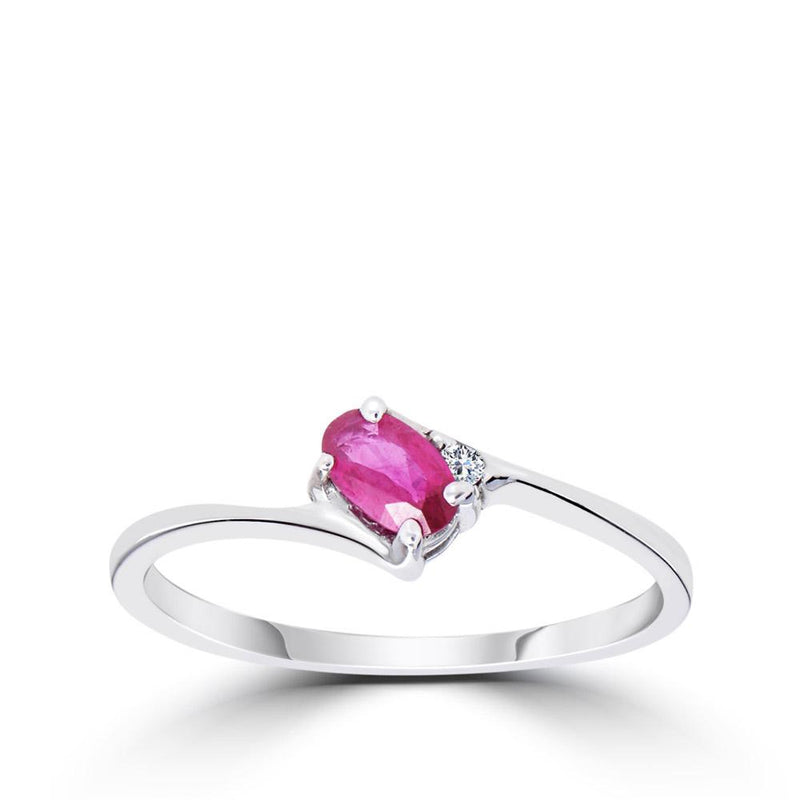 Diamond & Oval Ruby Ring in 14K White Gold