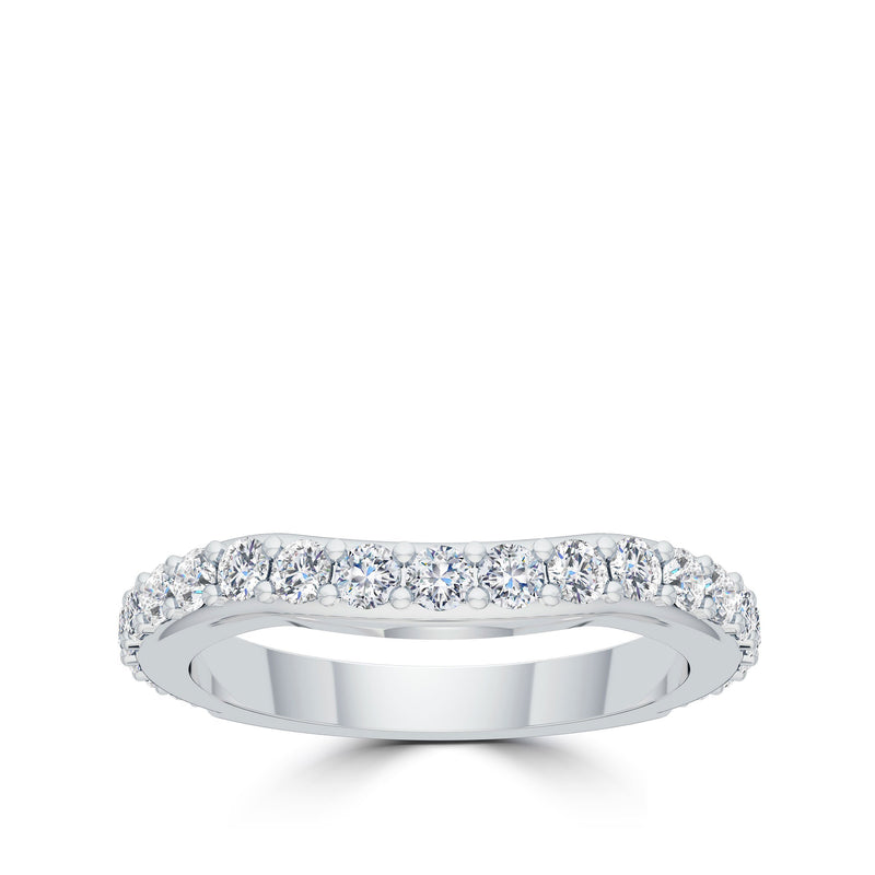Scultped Diamond Ring in 14K White Gold