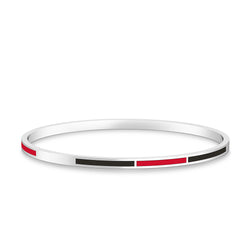 Two-Tone Enamel Bracelet in Red and Black Size S