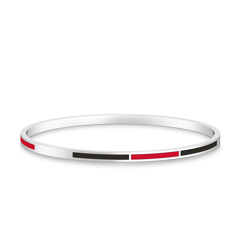 Two-Tone Enamel Bracelet in Red and Black Size L