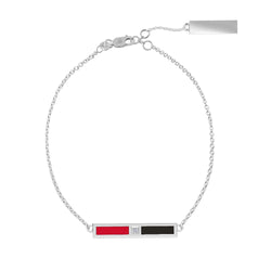 Diamond Bar Bracelet in Red and Black