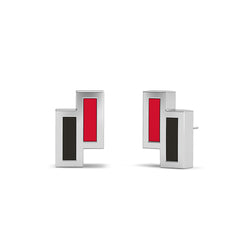 Asymmetric Enamel Stud Earrings in Red and Black