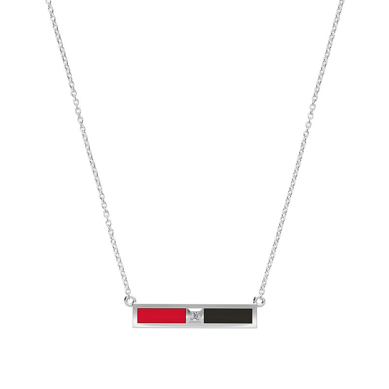 Diamond Bar Necklace in Red and Black Size 16