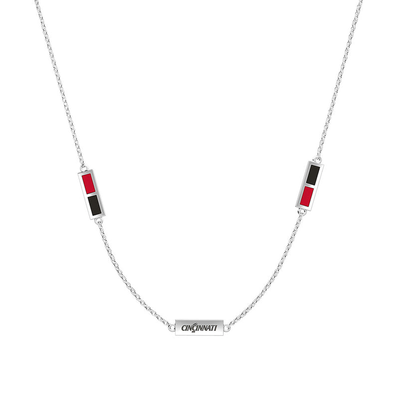 Cincinnati Engraved Triple Station Necklace in Red and Black Size 16