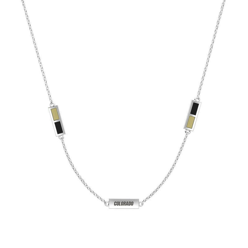 Colorado Engraved Triple Station Necklace in Tan and Black Size 16