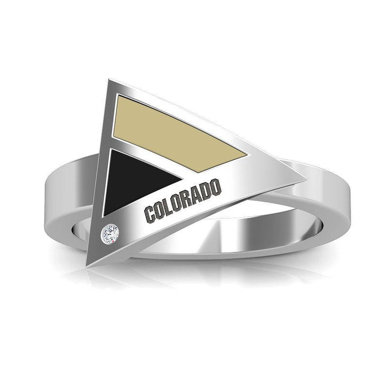 Colorado Engraved Diamond Geometric Ring in Tan and Black Size 7