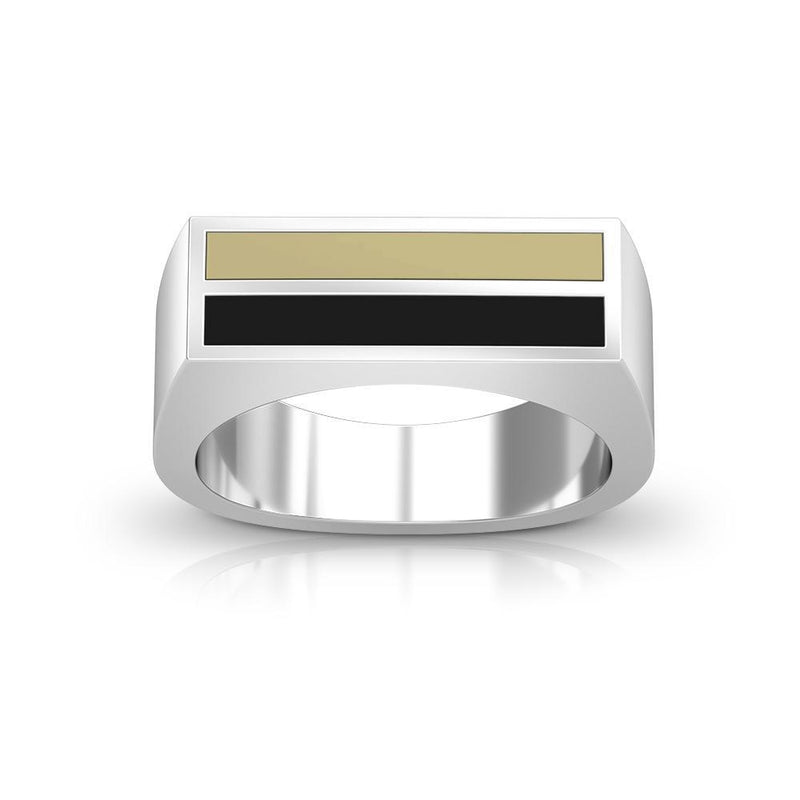 Enamel Ring in Tan and Black Size 8