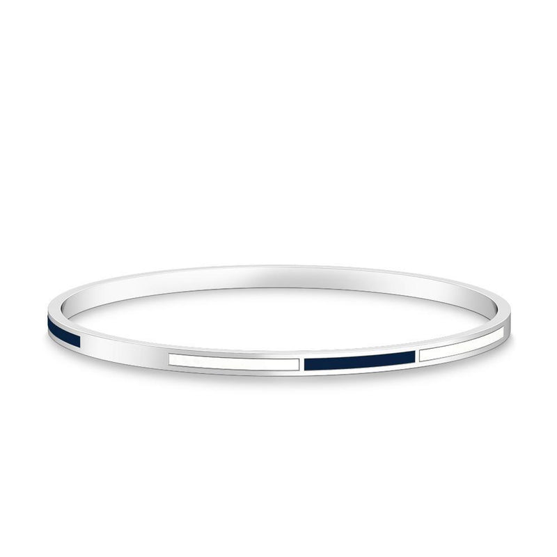 Two-Tone Enamel Bracelet in Dark Blue and White Size L