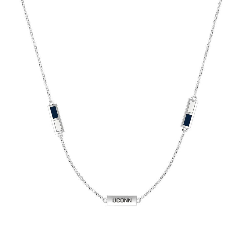 UCONN Engraved Triple Station Necklace in Dark Blue and White Size 18