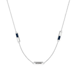 UCONN Engraved Triple Station Necklace in Dark Blue and White Size 20