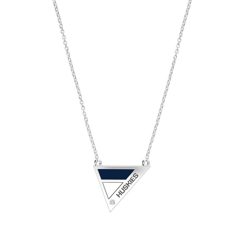 Huskies Engraved Diamond Geometric Necklace in Dark Blue and White Size 16