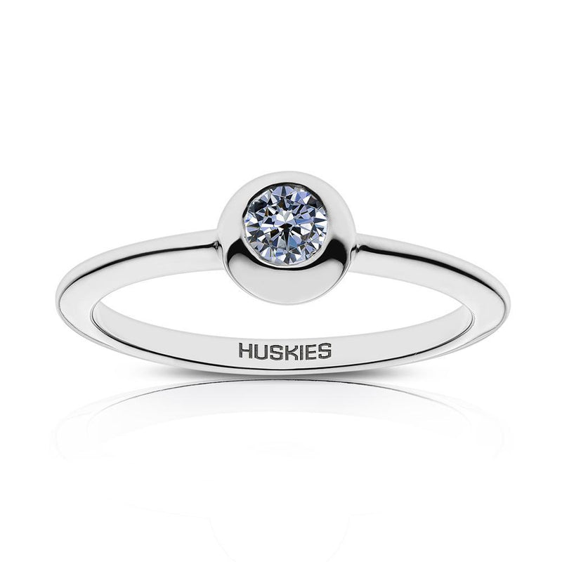 Huskies Engraved White Sapphire Ring Size 4