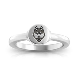Huskies Logo Engraved Signet Ring Size 6