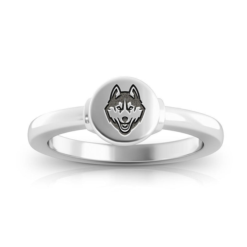 Huskies Logo Engraved Signet Ring Size 10
