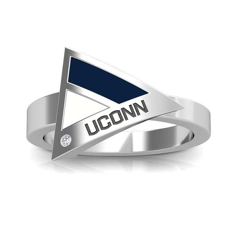 UCONN Engraved Diamond Geometric Ring in Dark Blue and White Size 5