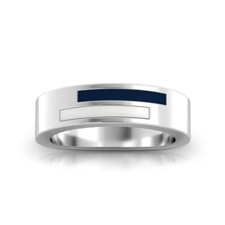 Asymmetric Enamel Ring in Dark Blue and White Size 6