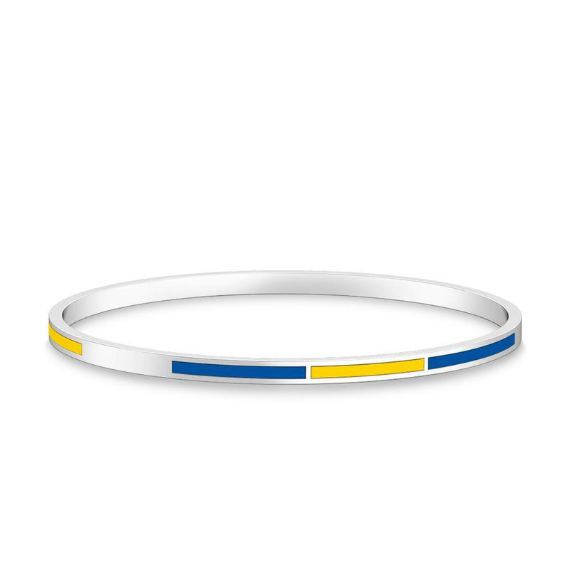 Two-Tone Enamel Bracelet in Dark Blue and Yellow Size S
