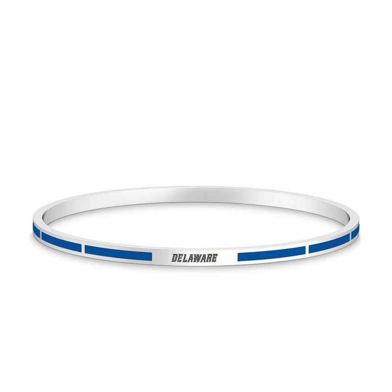 Delaware Engraved Enamel Bracelet in Dark Blue Size L