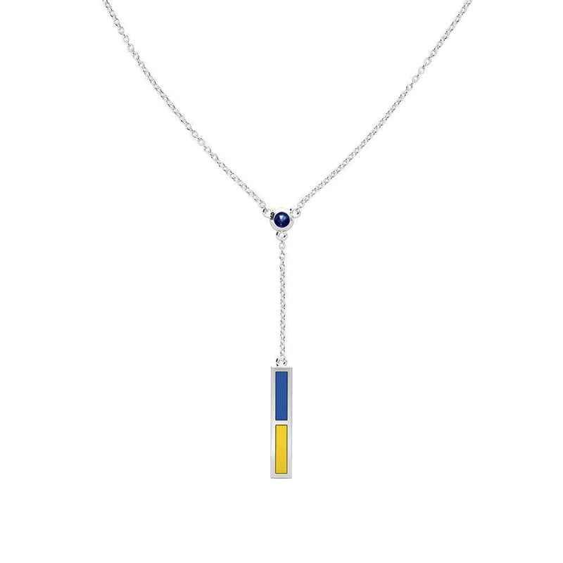 Dark Sapphire Drop Necklace in Dark Blue and Yellow Size 20