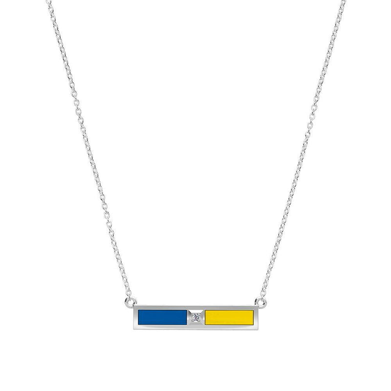 Diamond Bar Necklace in Dark Blue and Yellow Size 18