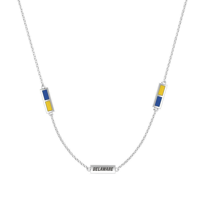 Delaware Engraved Triple Station Necklace in Dark Blue and Yellow Size 20