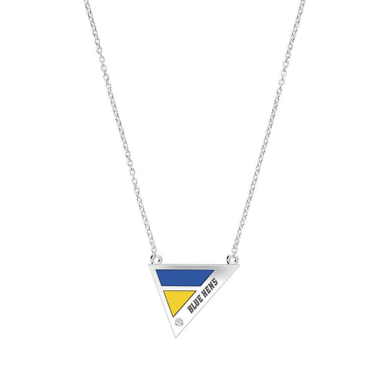 Blue Hens Engraved Diamond Geometric Necklace in Dark Blue and Yellow Size 16