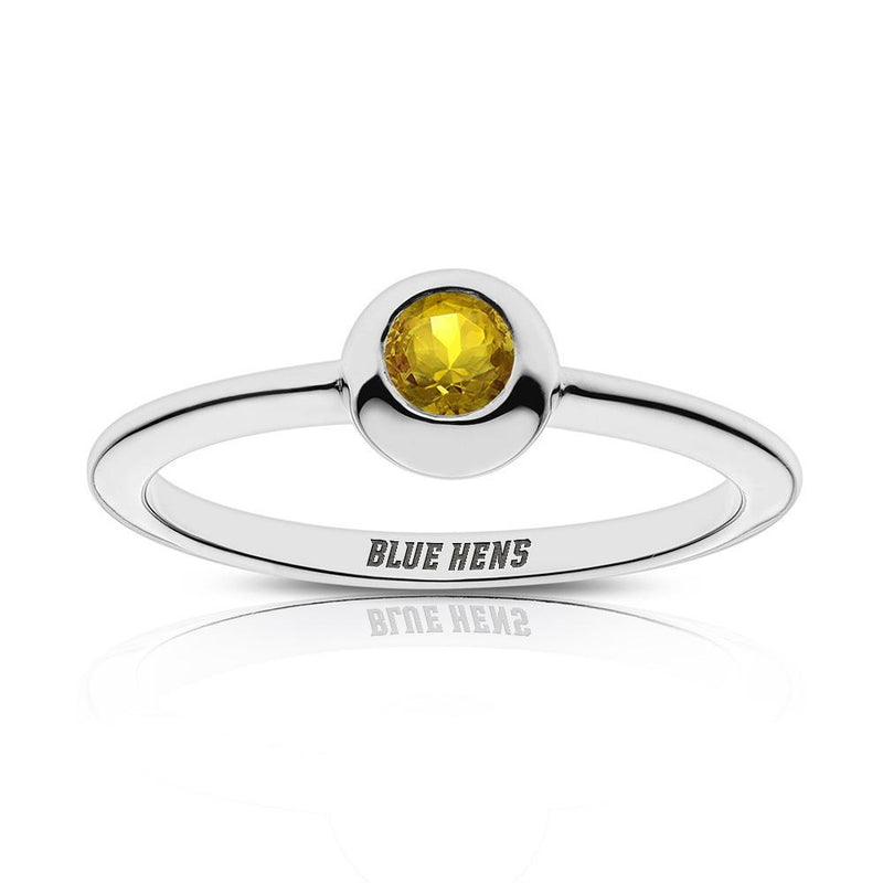 Blue Hens Engraved Yellow Sapphire Ring Size 4