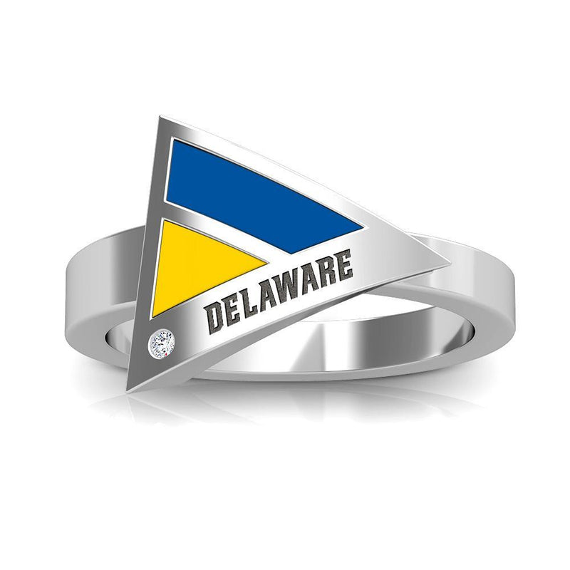 Delaware Engraved Diamond Geometric Ring in Dark Blue and Yellow Size 6