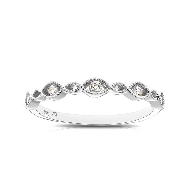 Diamond & Milgrain Stackable Ring in Sterling Silver