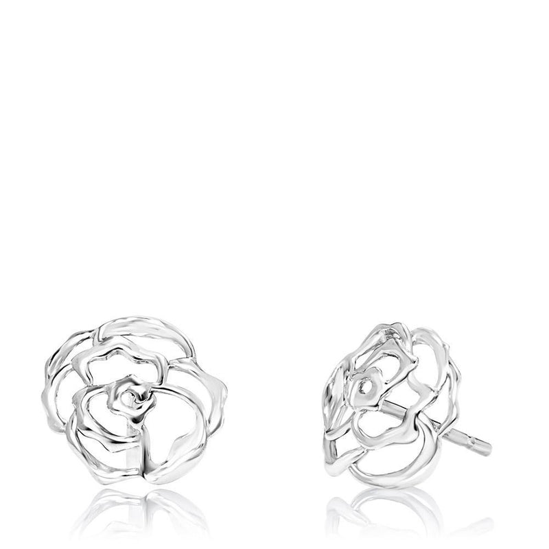 Peony Stud Earrings in Sterling Silver