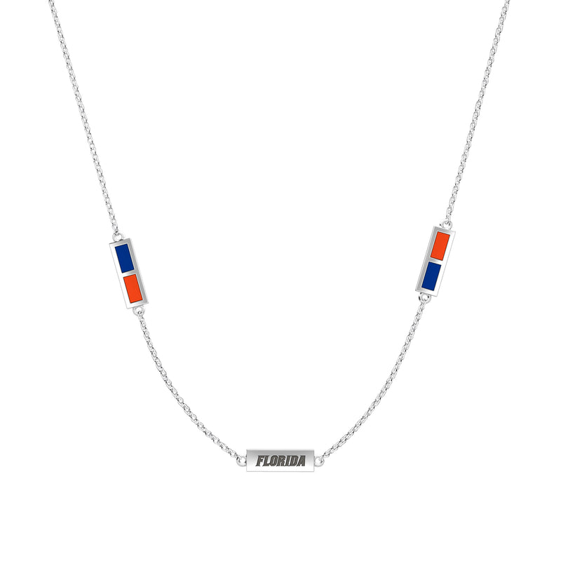 Florida Engraved Triple Station Necklace in Blue and Dark Orange Size 18