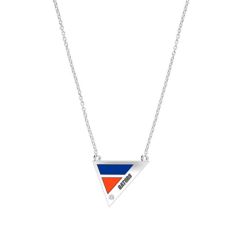 Gators Engraved Diamond Geometric Necklace in Blue and Dark Orange Size 16