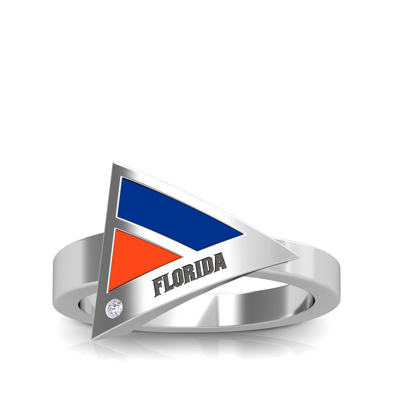 Florida Engraved Diamond Geometric Ring in Blue and Dark Orange Size 9