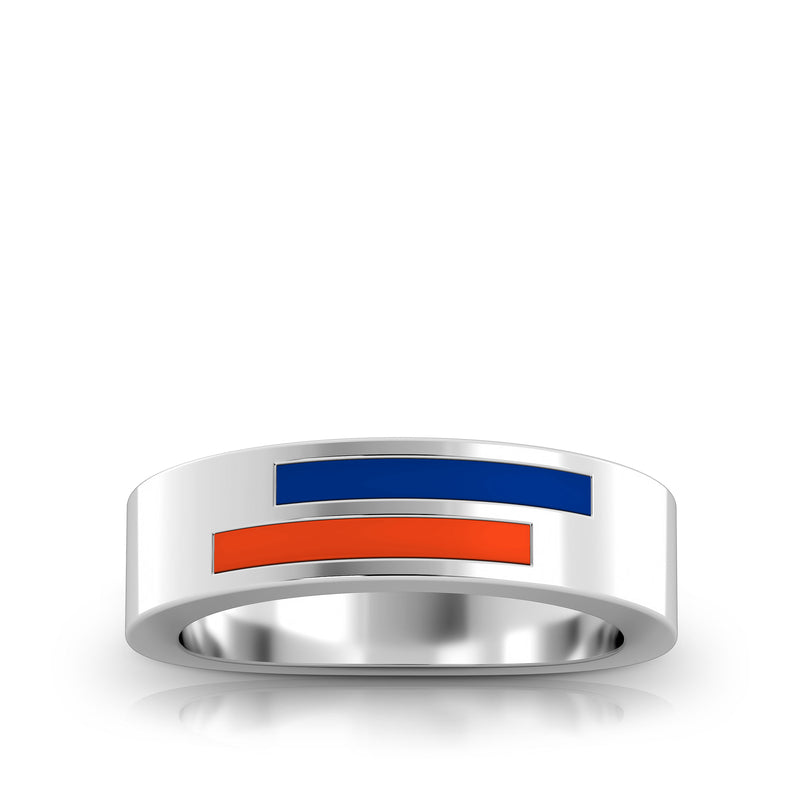 Asymmetric Enamel Ring in Blue and Dark Orange Size 7