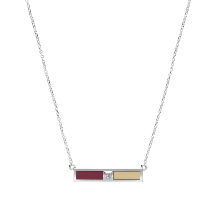 Diamond Bar Necklace in Dark Red and Tan Size 16