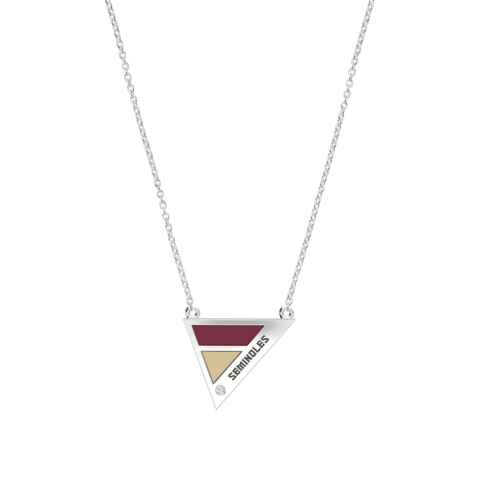 Seminoles Engraved Diamond Geometric Necklace in Dark Red and Tan Size 16