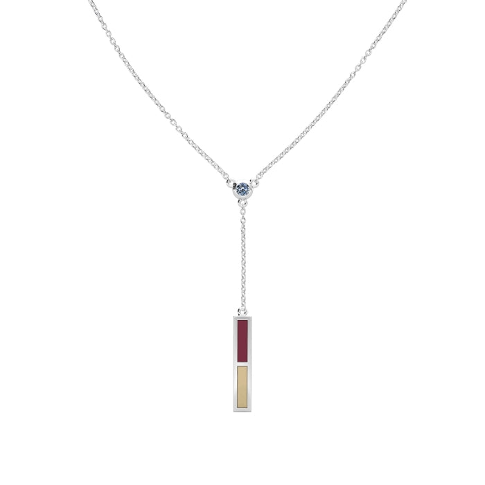 White Sapphire Drop Necklace in Dark Red and Tan Size 18