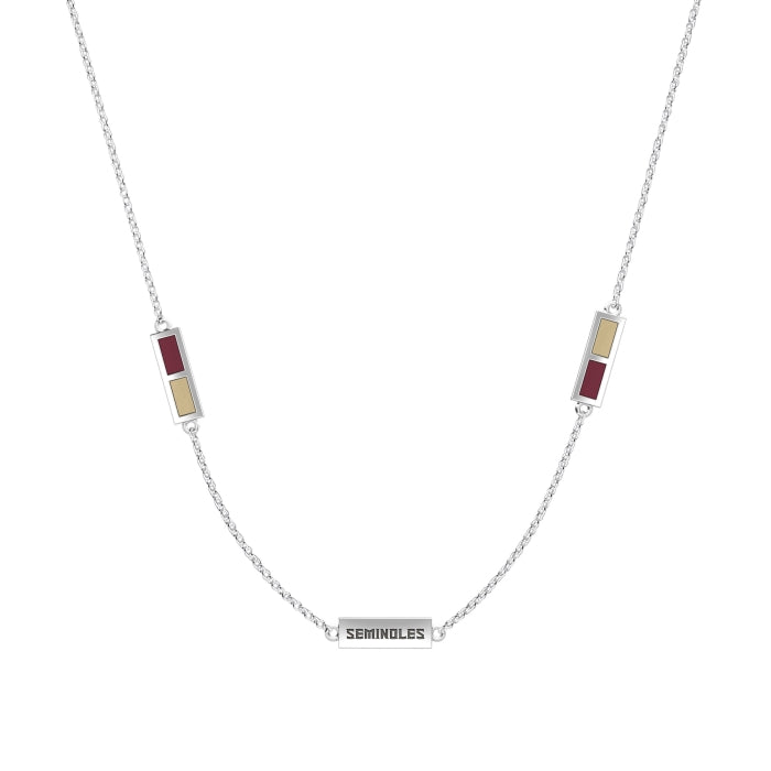 Seminoles Engraved Triple Station Necklace in Dark Red and Tan Size 20