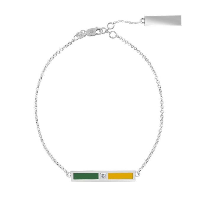 Diamond Bar Bracelet in Green and Yellow